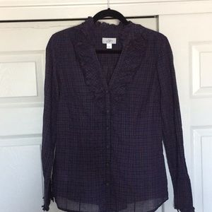 Loft Size 10 Plaid Button Up with Ruffle Neck